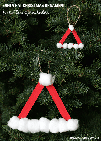 easy to make toddler craft santa hat christmas ornament using popsicle sticks, cotton balls, red paint and glue