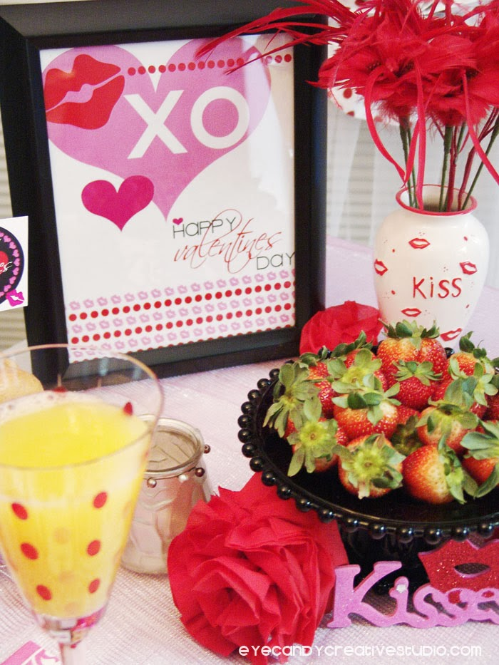 valentines art print, breakfast strawberries, mimosa, valentines table decor