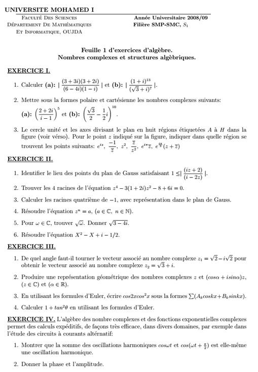 Exercices Algèbre: Nombres complexes et structures algebriques SMPC FSO