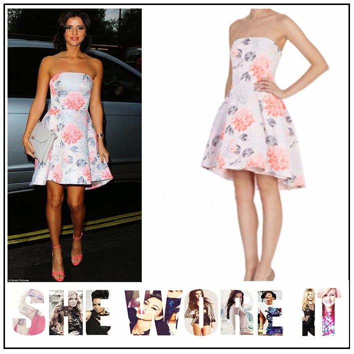 Coast, Coral, Cream, Floral Rose Print, Knee Length, Lucy Mecklenburgh, Naomi, Nude, Pastel, Pink, Prom Dress, Strapless,
