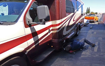 Brian of Holley Generator working on motorhome last year