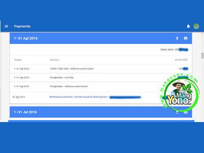 Pembayaran Google Adsense Bulan Agustus 2016.