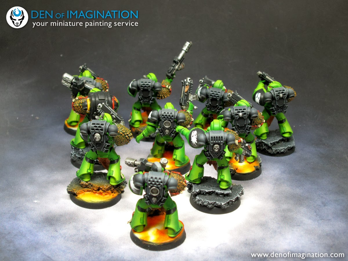 cd340395273b85 Here we have 30 space marines in 3 squads, all equipped with cool looking  scale elements from Spellcrow bits. The salamander head freehands are  Robert s ...