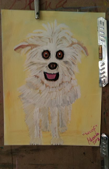 """Woof"" fluffy puppy sketch by Gloria Poole;"