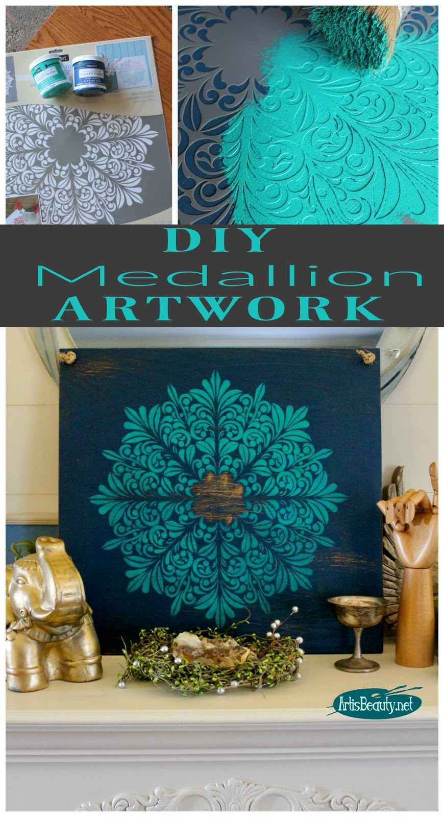 ART IS BEAUTY: DIY Medallion Wall Art from an Old Shelf