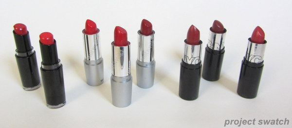 Inexpensive Drugstore Red Lipstick Swatches & Comparison