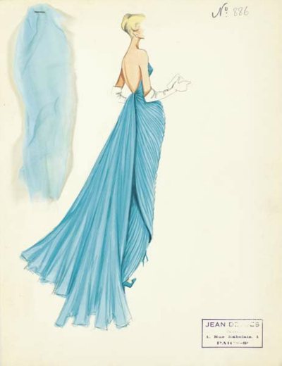 Ice Blue evening gown with intricate draping and pleating on fashion illustration by Jean Dessés