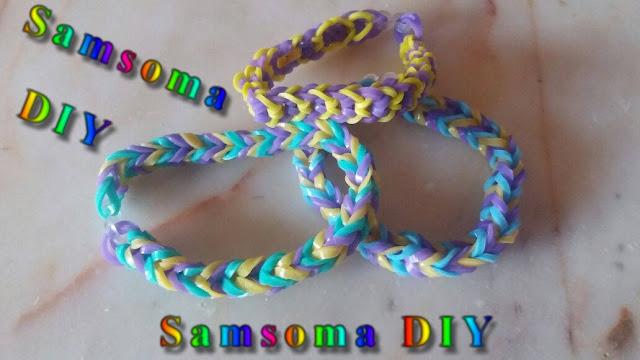 صنع اساور بالمطاط . صنع الإسوارة الرباعية بالمطاط . عمل إسوارة من المطاط . DIY Rainbow Loom Bracelets  . looming DIY ..  كيف تصنع اسوارة من المطاط