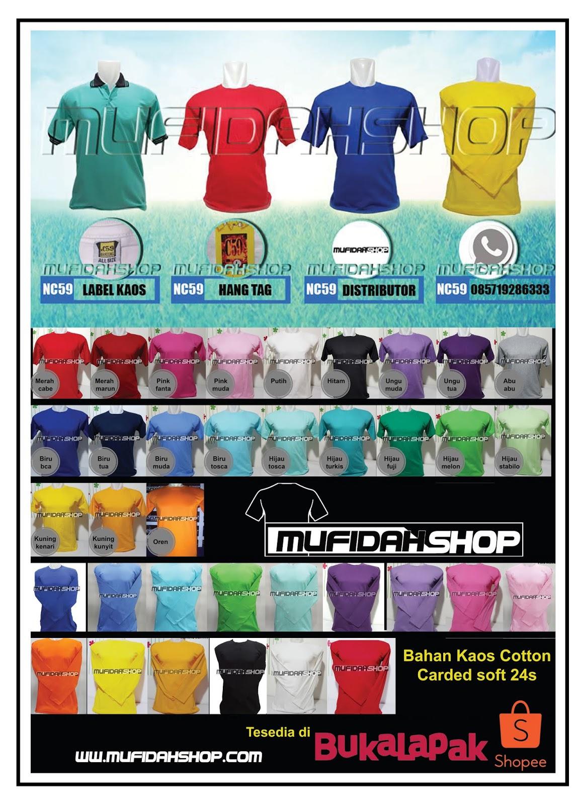 Kaos Polos Lengan Pendek Mufidahshop Bahan Carded Tangan Panjang
