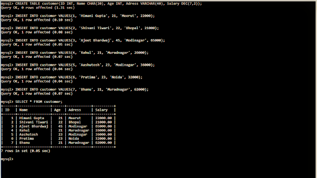 Example of SELECT STATEMENT in sql
