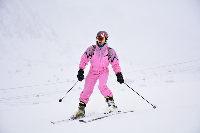 Andorra Skiing Holiday Vintage Pink Ski Suit - Bearded Couture