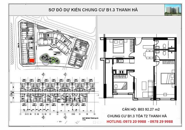 Sơ đồ mặt bằng căn hộ B03 tòa T2 chung cư B1.3 Thanh Hà