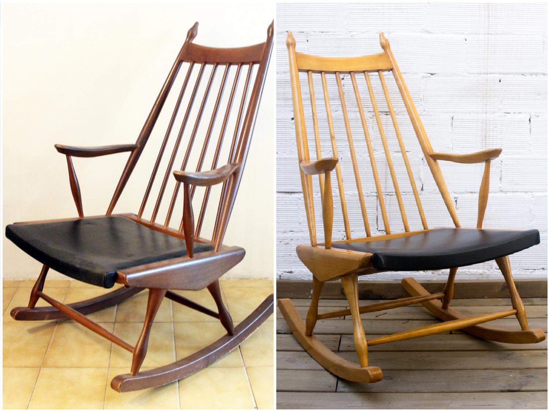 Antes y después - Balancín restaurado - Studio Alis