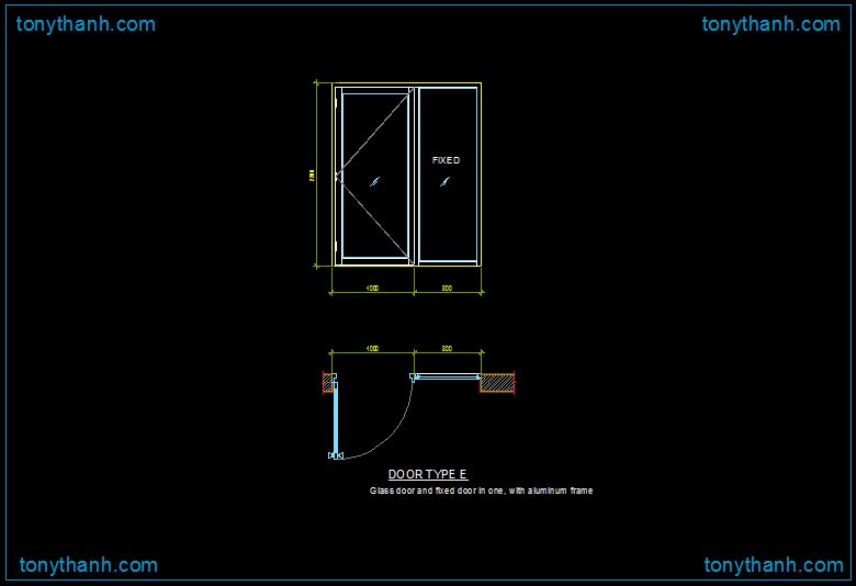 dwg drawing of glass sliding door with aluminum frame dwg