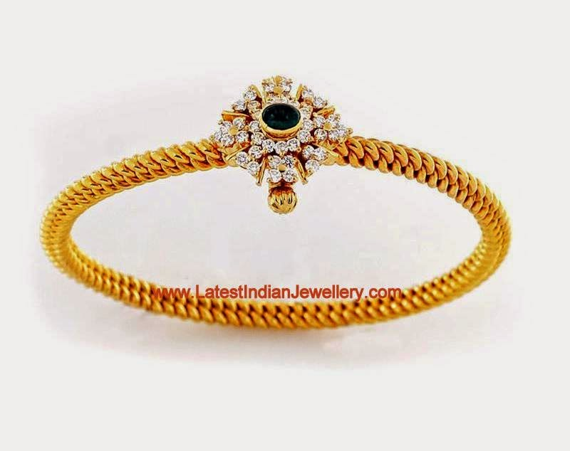 Traditional Twisted Design Gold Bangle Latest Indian