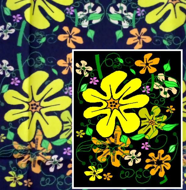 Sunshine Floral on Black fabric by eSheep Designs