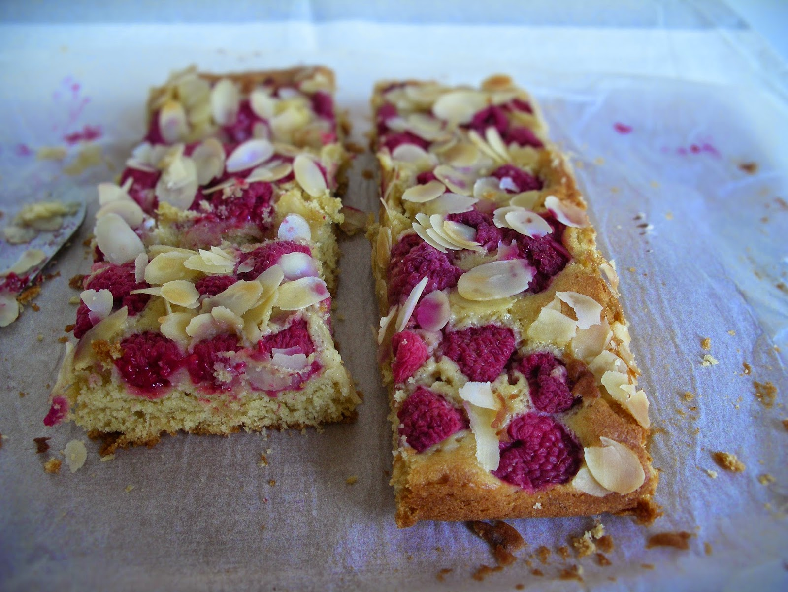 Raspberry - almond blondies