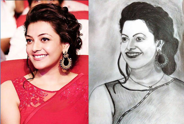 PENCIL DRAWING - Actress Kajal Aggarwal