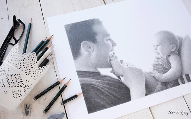 Dibujo realista a lápiz de grafito
