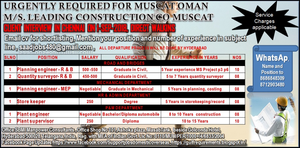 Urgently Required for M/s Leading Construction Company – Muscat