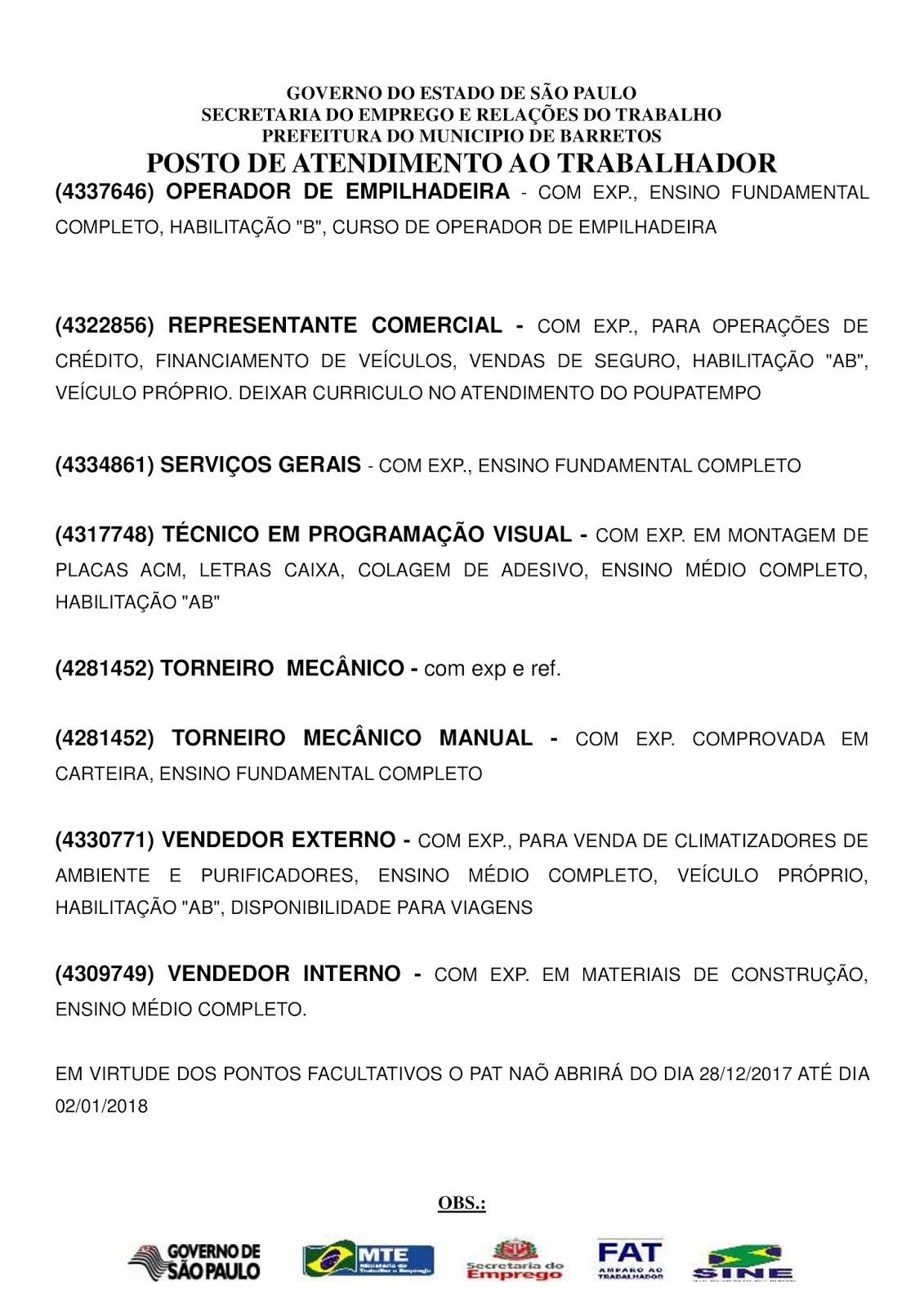 VAGAS DE EMPREGO DO PAT BARRETOS-SP PARA 28/12/2017 QUINTA-FEIRA À 03/01/2018 QUARTA-FEIRA - Pág. 2