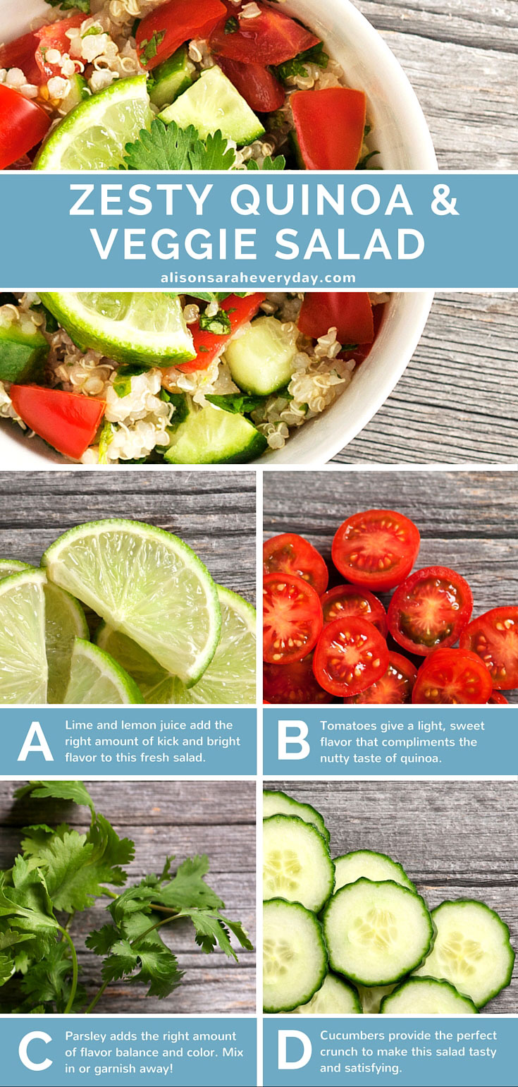 A quinoa salad made with Lime, Tomatoes, parsley, and cucumbers