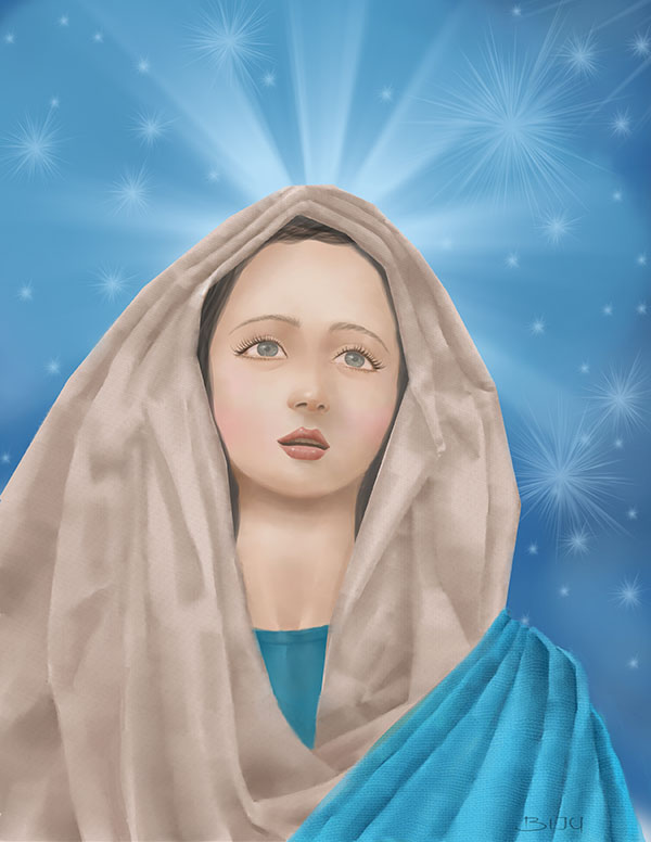 Holy Mary digital painting, Religious painting.