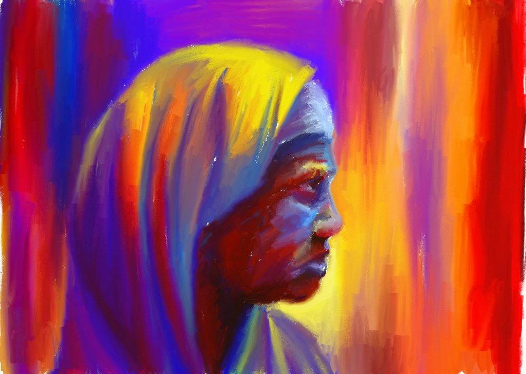 Retrato cuadro de mujer india con colores muy vivos