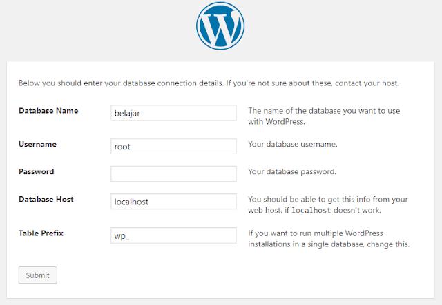 memasukkan detail database ke wordpress