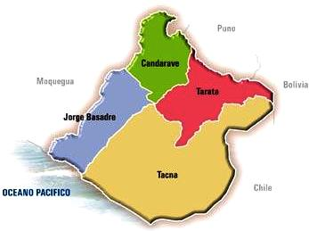 Dibujo del Mapa político de Tacna a colores