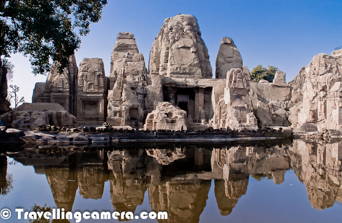 Masrur is approximately 30 kilometers from Kangra town of Himachal Pradesh, on Nagrota Surian link road and is famous for remarkable group of rock cut temples. It's a quiet place around hills with no hotel around this place. You can find some homestays or govt guest houses nearby. Apart from this beautiful temple, you can visit Pond dam and if you are there in winters, you can see millions of birds flying around with hundreds of species from different parts of the world.      Above photograph shows the temple in Masru, which is a 15 monolithic rock cut temples in the Indo-Aryan style and amazingly carved. These awesomely ornamented cave temples are the only rock shrines in the northern part of India. The main shrine contains three stone images of Ram laxman and Sita but the presence of the figure of Shiva in the center of the lintel affords a strong presumption that the temple was originally dedicated to Mahadeva.
