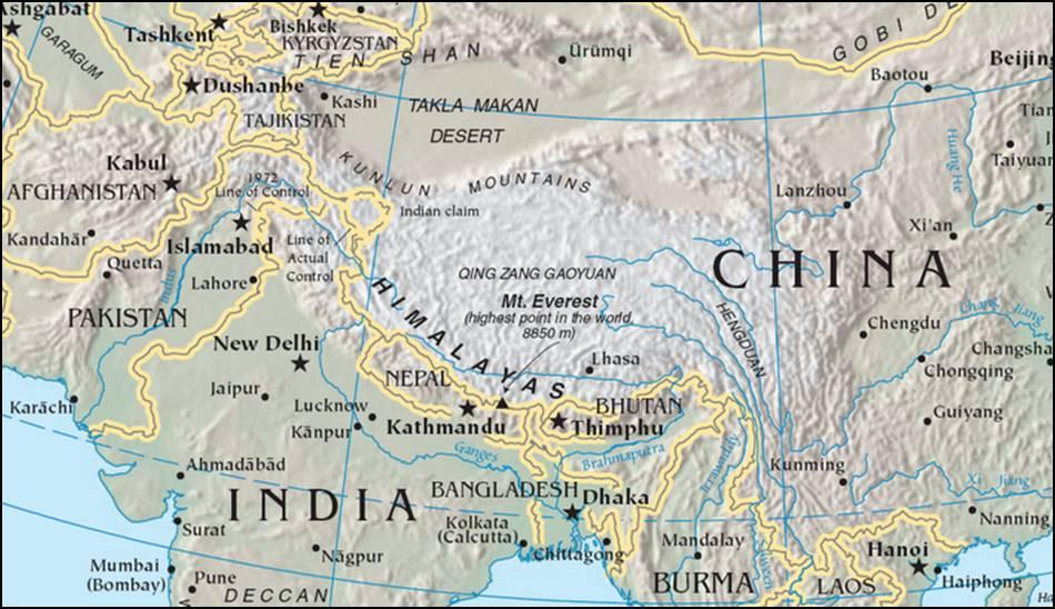 Kaart Himalaya Kaart Himalaya Met Hoogste Berg Op Aarde Mount Everest