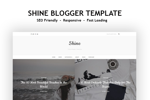 Shine Free Responsive Blogger Template