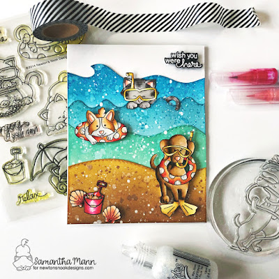 Wish You Were Here Card by Samantha Mann for Newton's Nook Designs, Distress Inks, Ink Blending, Cards, Handmade Cards, Beach, Corgi, Dogs, Cats, Ocean #distressinks #inkblending #heatembossing #cards #handamdecards #newtonsnook #beach