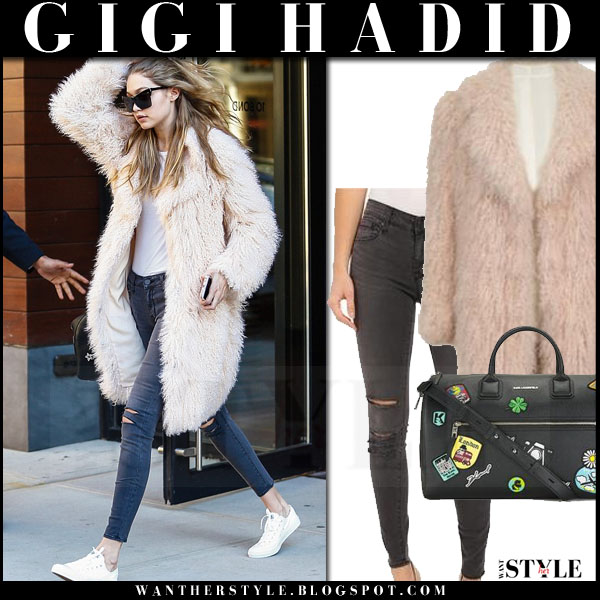 Gigi Hadid in cream light pink faux fur elizabeth and james hart coat what she wore model style