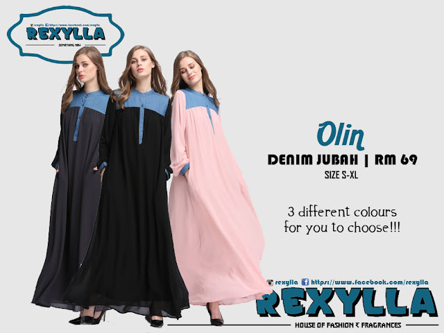 rexylla, denim fhiffon, denim chiffon jubah, olin collection