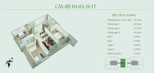 Thiết kế căn hộ 95m2 - 03 phòng ngủ