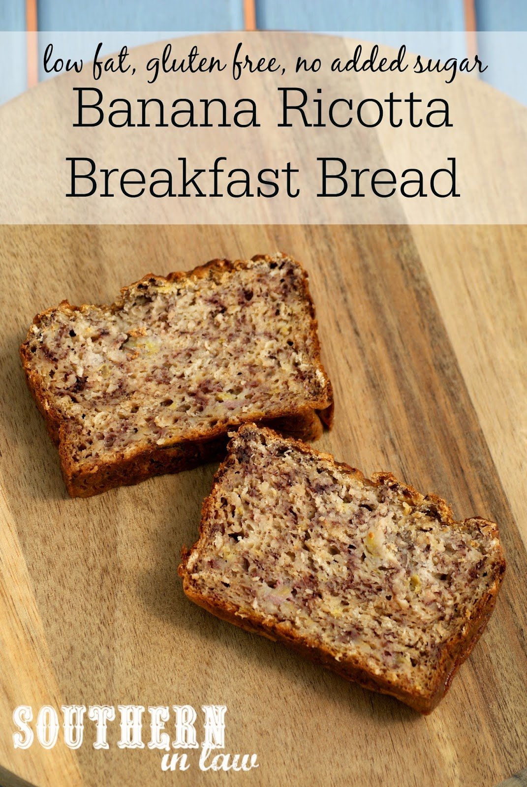 Healthy Ricotta Banana Bread Recipe - low fat, gluten free, sugar free, egg free, healthy