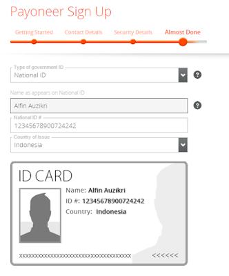 National ID dibutuhkan untuk mendaftar payoneer