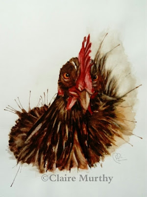hen in watercolour