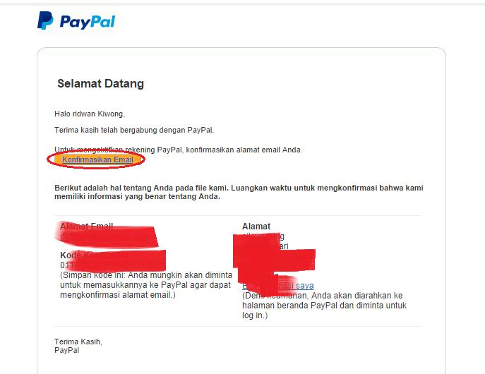 email  konfirmasi paypal