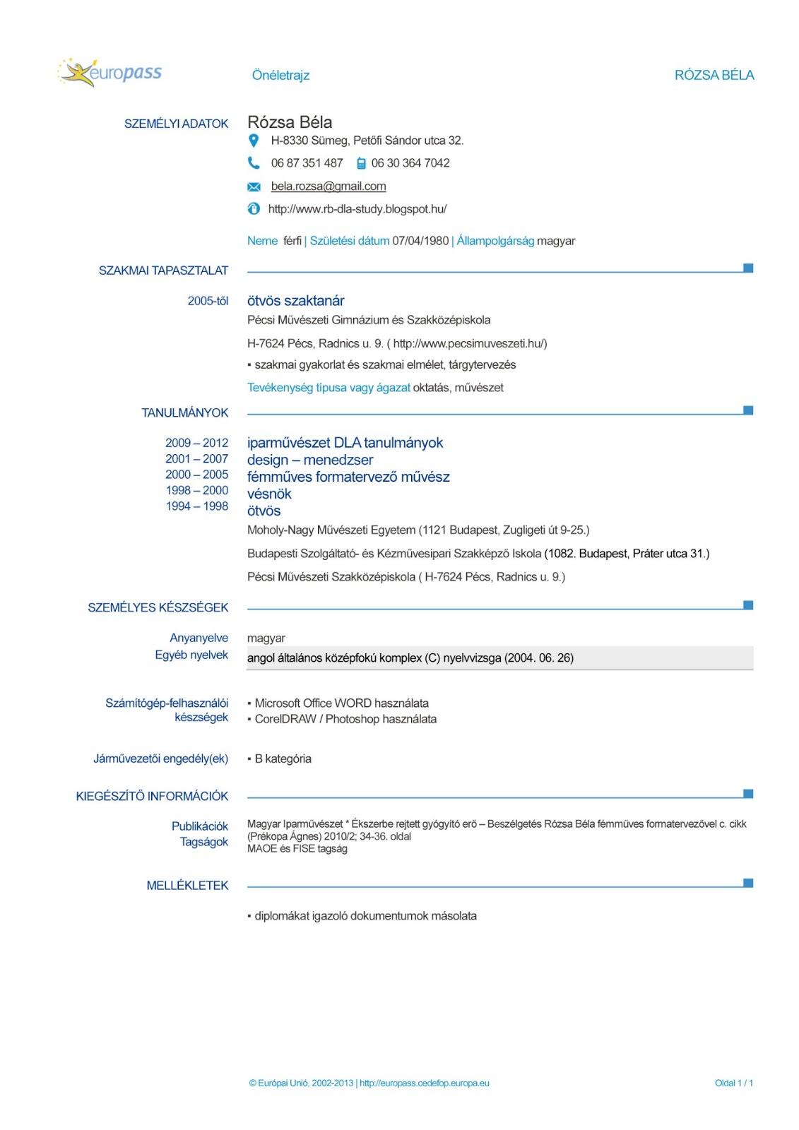 önéletrajzok tárolása RB dla study: RB szakmai CV önéletrajzok tárolása