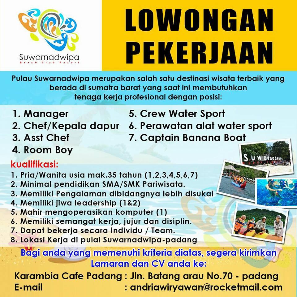 Lowongan Kerja di Padang – Suwarnadwipa Beach Club Resort – 7 Posisi (Maret 2017)
