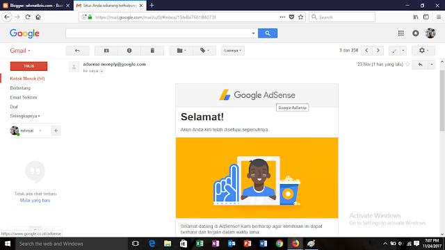 notifikasi penerimaan google adsense