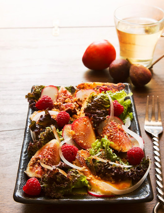 Fig and Plum Salad with Fried Haloumi