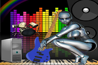 A female robot with an electric guitar.