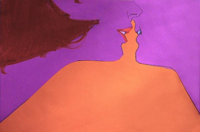 Bob Peak illustration of a kiss
