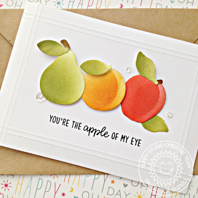 Sunny Studio Stamps: Fruit Cocktail Clean and Simple Die Cut Fruit Card by Franci Vignoli