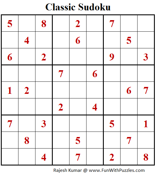 Classic Sudoku Puzzle (Fun With Sudoku #206)