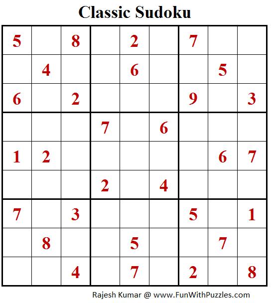 Classic Sudoku Puzzle (Fun With Sudoku #206)